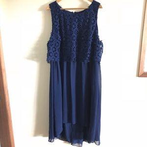 Adriana Papell Navy Blue Eyelet Formal Dress